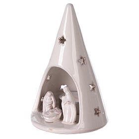 Cone tree with Holy Family in white Deruta terracotta 15 cm s2