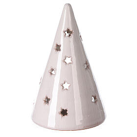 Cone tree with Holy Family in white Deruta terracotta 15 cm s4