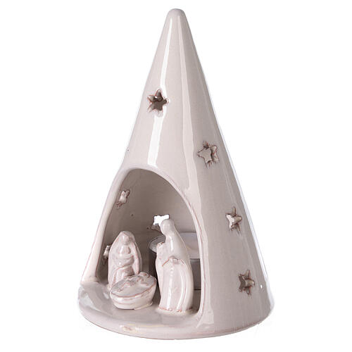 Cone tree with Holy Family in white Deruta terracotta 15 cm 2