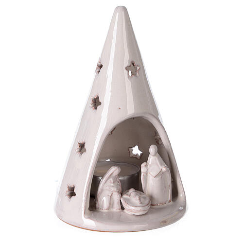 Cone tree with Holy Family in white Deruta terracotta 15 cm 3