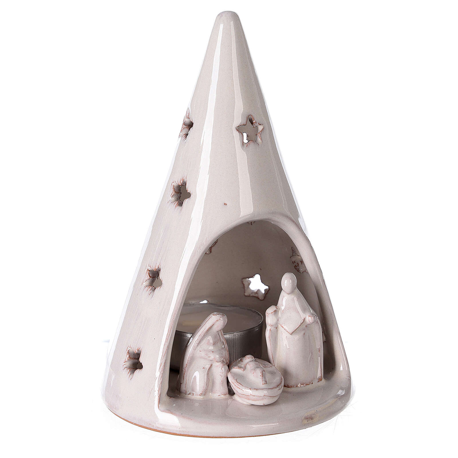 Cone tree with tealight in white Deruta terracotta 15 cm 4