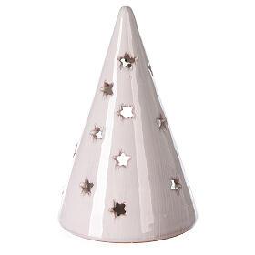 Cone tree with tealight in white Deruta terracotta 15 cm s4