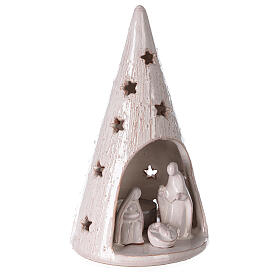 Cone tree with Holy Family in white gold Deruta terracotta 20 cm s3