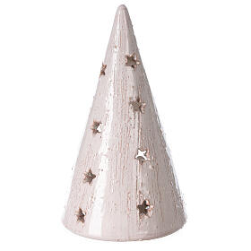Cone tree with Holy Family in white gold Deruta terracotta 20 cm s4