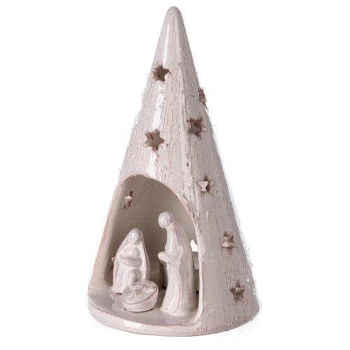 Cone tree with Holy Family in white gold Deruta terracotta 20 cm 2