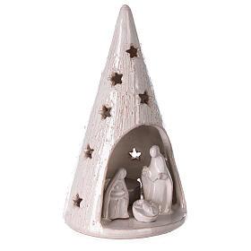 Christmas tree with Nativity set in white Deruta terracotta 20 cm s3