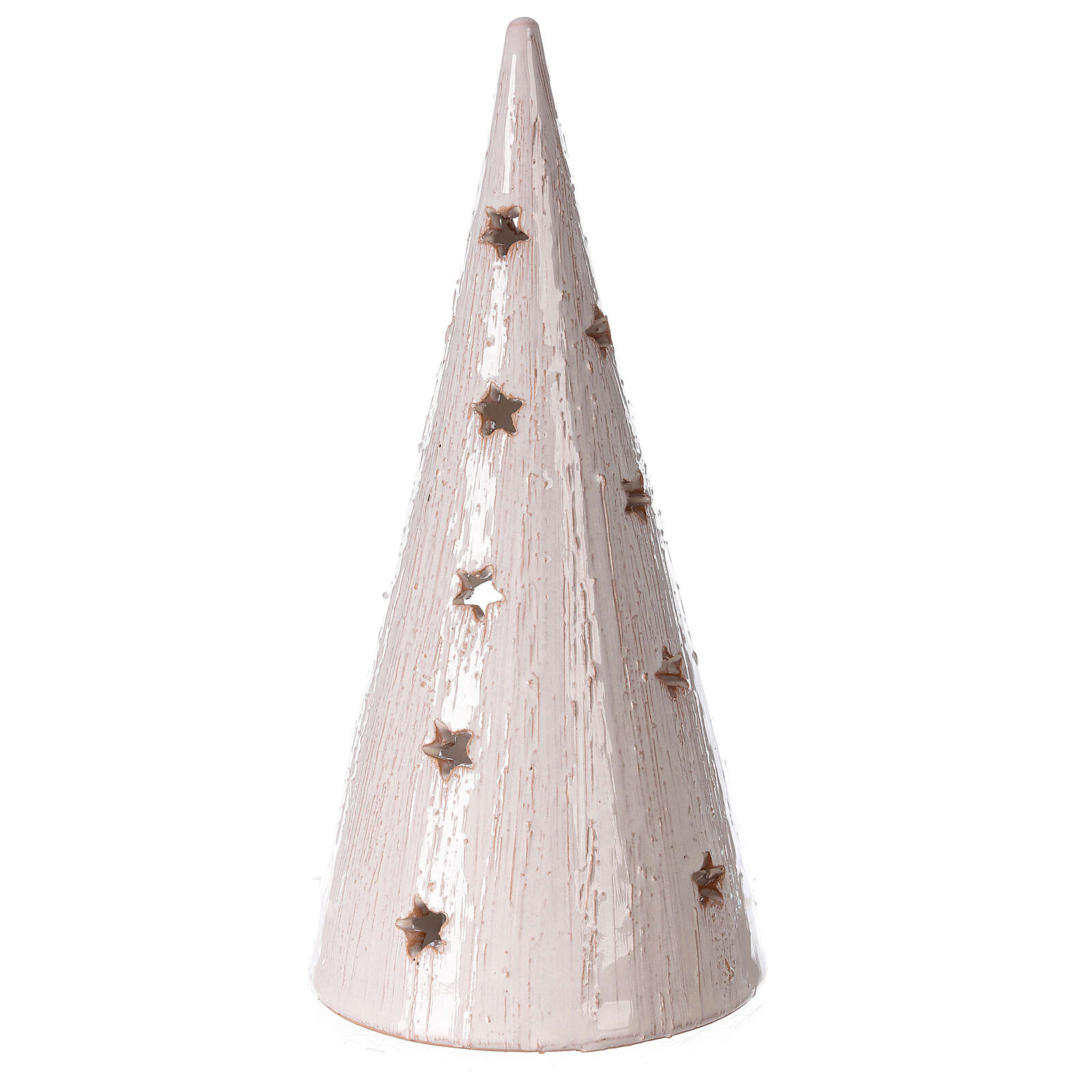 Cone tree with Holy Family in white gold Deruta terracotta 25 cm 4