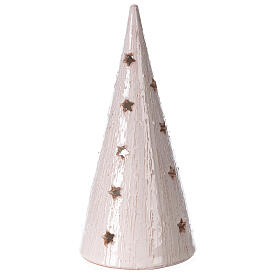 Cone tree with Holy Family in white gold Deruta terracotta 25 cm s4