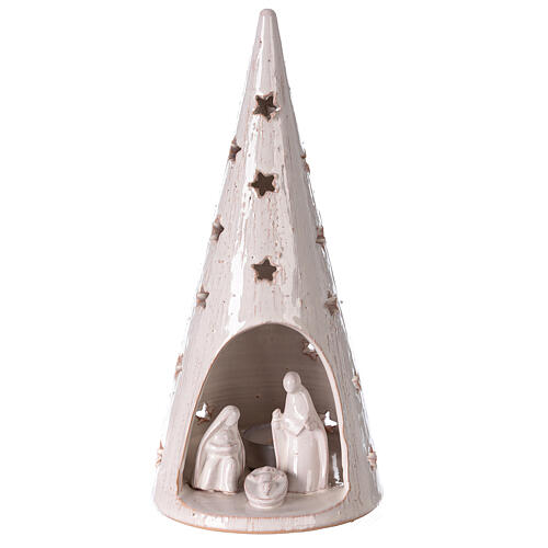 Cone tree with Holy Family in white gold Deruta terracotta 25 cm 1