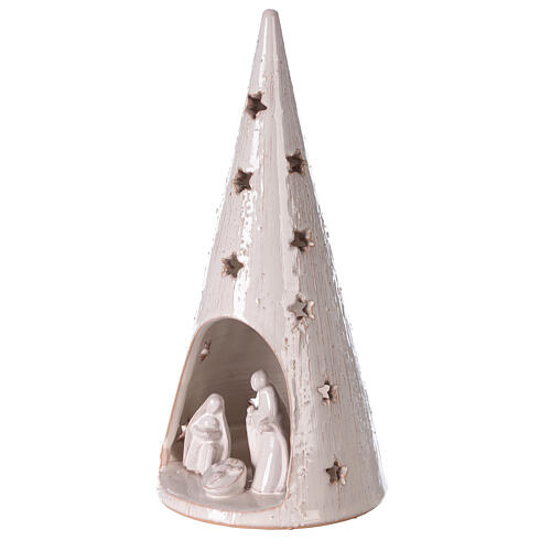 Cone tree with Holy Family in white gold Deruta terracotta 25 cm 2
