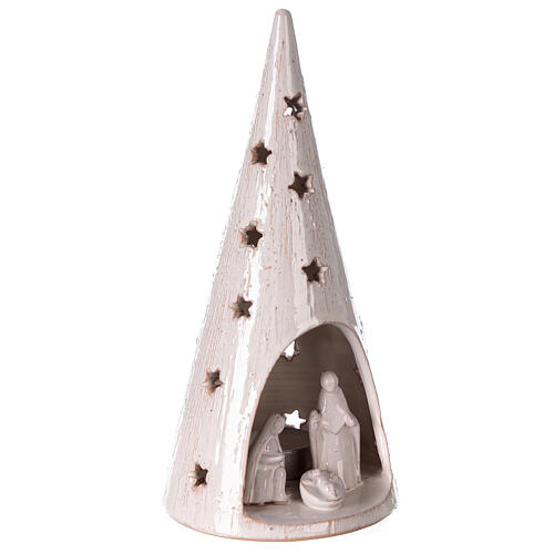 Cone tree with Holy Family in white gold Deruta terracotta 25 cm 3