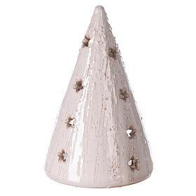 Crèche photophore cône blanc santons terre cuite Deruta 15 cm s4