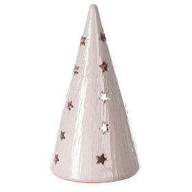 Cone Christmas tree candle holder with Nativity bicolored Deruta terracotta 20 cm s4