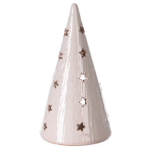 Cone Christmas tree candle holder with Nativity bicolored Deruta terracotta 20 cm 4