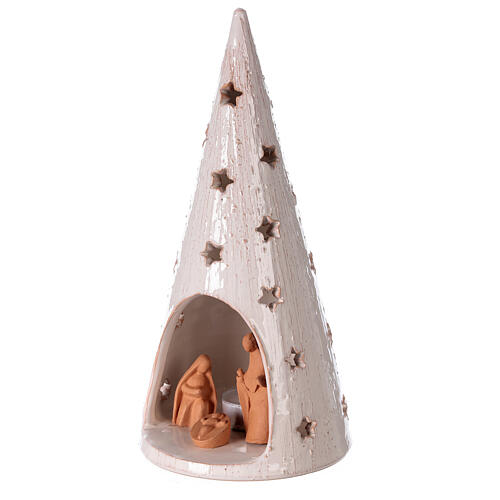 Christmas tree with Holy Family in natural and white Deruta terracotta 25 cm 2
