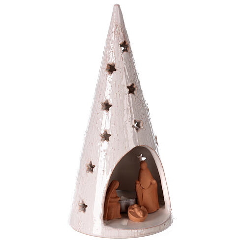 Christmas tree with Holy Family in natural and white Deruta terracotta 25 cm 3