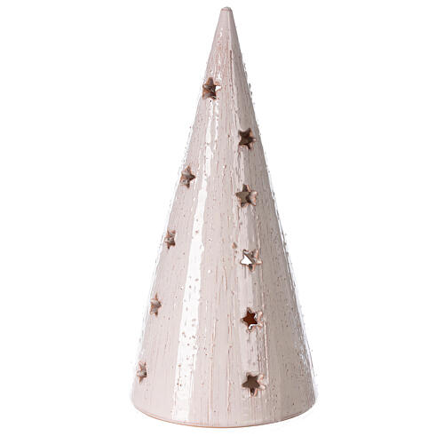 Christmas tree with Holy Family in natural and white Deruta terracotta 25 cm 4