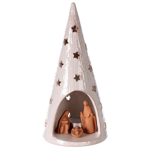 Christmas decoration tree with Holy Family Deruta terracotta 25 cm bi-colored 1