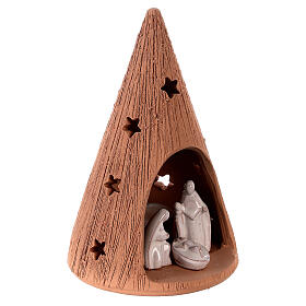 Cone with stars Holy Family set with tealight 15 cm s3
