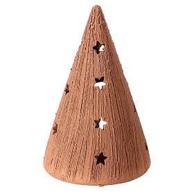 Cone with stars Holy Family set with tealight 15 cm s4