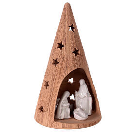 Cone with Holy Family in two-tone Deruta terracotta 20 cm s3
