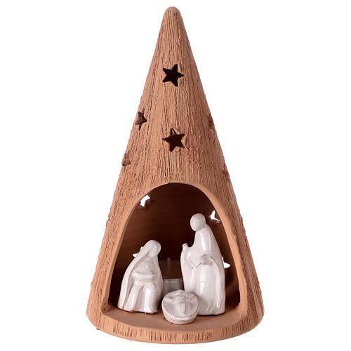 Cono grezzo lumino Natività terracotta Deruta 20 cm 1