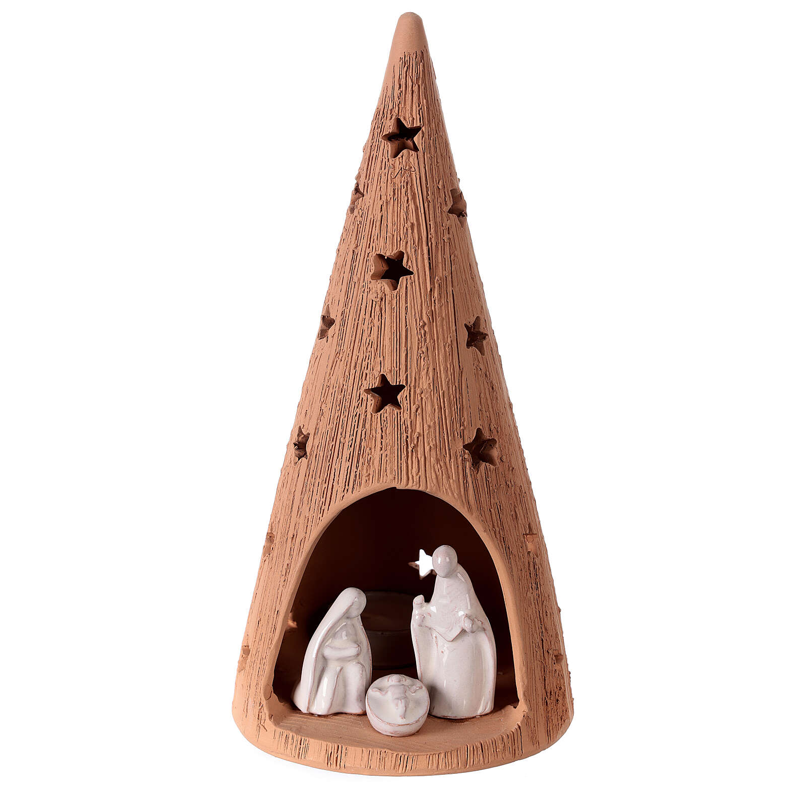 Christmas tree with white Holy Family set in Deruta terracotta 25 cm 4