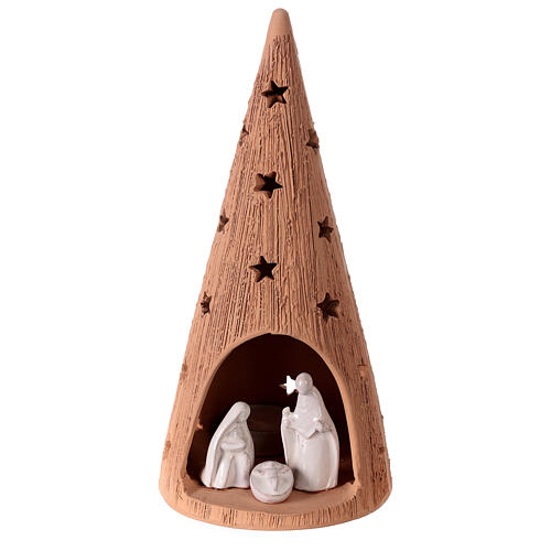 Christmas tree with white Holy Family set in Deruta terracotta 25 cm 1