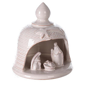 Bell with Holy Family set comet in white Deruta terracotta 12 cm s3