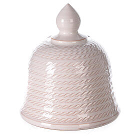 Bell with Holy Family set comet in white Deruta terracotta 12 cm s4