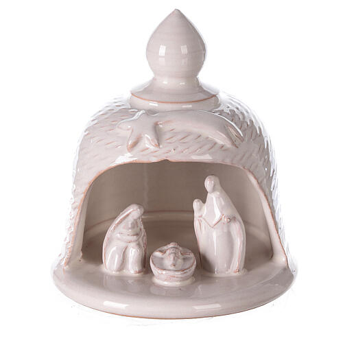 Bell with Holy Family set comet in white Deruta terracotta 12 cm 1
