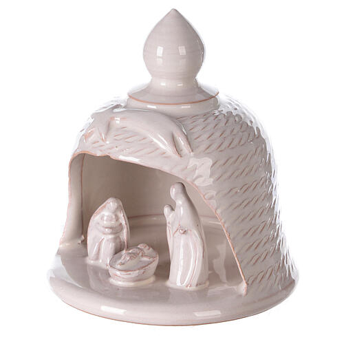 Bell with Holy Family set comet in white Deruta terracotta 12 cm 2