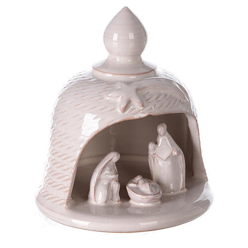 Bell with Holy Family set comet in white Deruta terracotta 12 cm 3