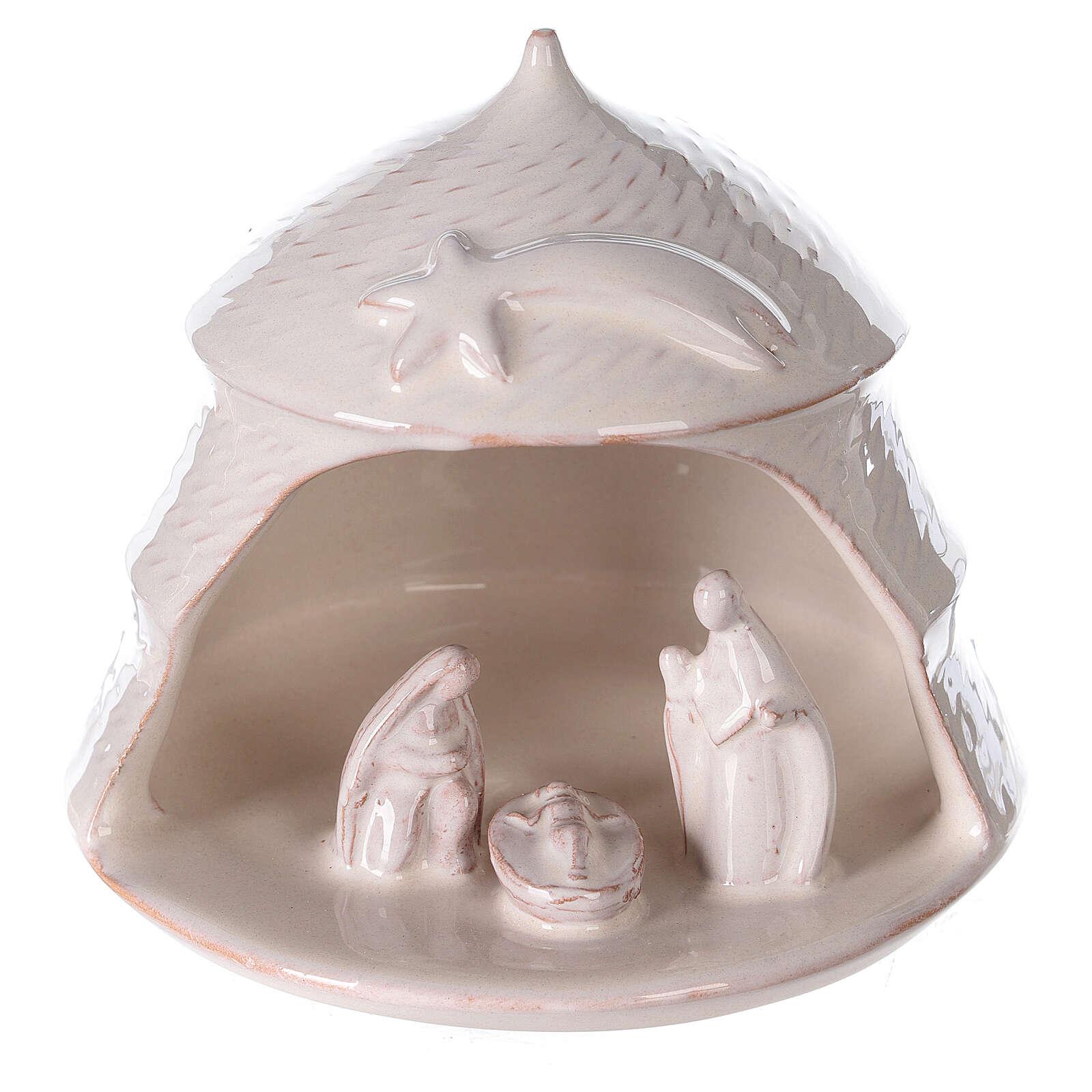 Open white pine Nativity white terracotta Deruta 12 cm 4