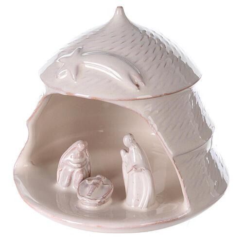 Open white pine Nativity white terracotta Deruta 12 cm 2