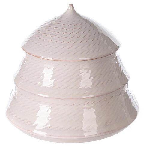Sapin blanc ouvert Nativité terre cuite blanche Deruta 12 cm 4