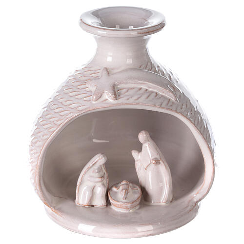 Nativity round white Deruta terracotta vase 12 cm 1