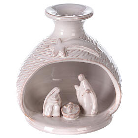 Natività vaso bianco stondato terracotta Deruta 12 cm s1