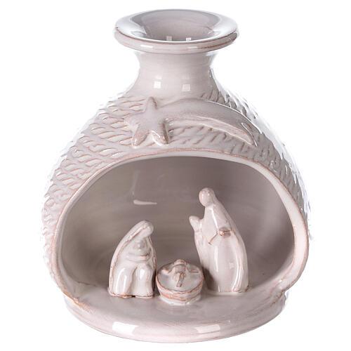 Natività vaso bianco stondato terracotta Deruta 12 cm 1