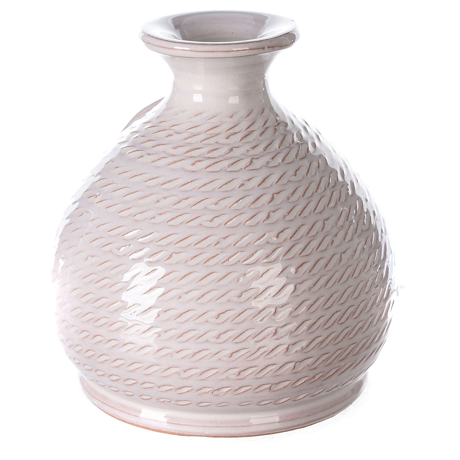 Rounded vase with white Nativity Deruta terracotta 12 cm 4