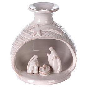Rounded vase with white Nativity Deruta terracotta 12 cm s1
