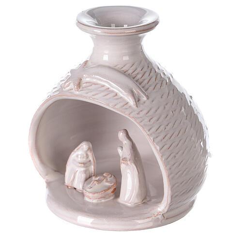Rounded vase with white Nativity Deruta terracotta 12 cm 2