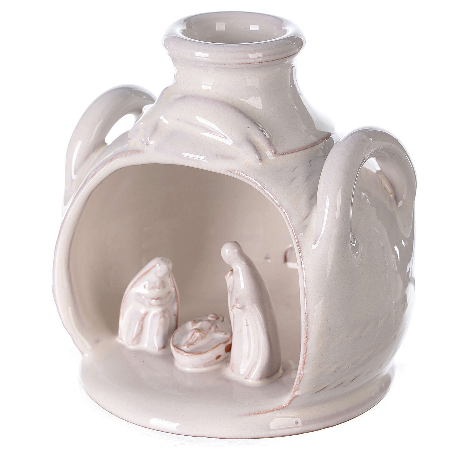 Holy Family set in jar polished white Deruta terracotta 12 cm 4
