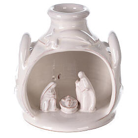 Holy Family set in jar polished white Deruta terracotta 12 cm s1