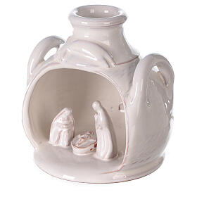 Holy Family set in jar polished white Deruta terracotta 12 cm s2