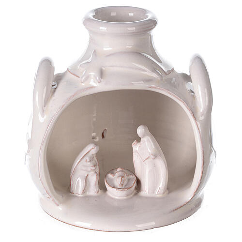 Holy Family set in jar polished white Deruta terracotta 12 cm 1