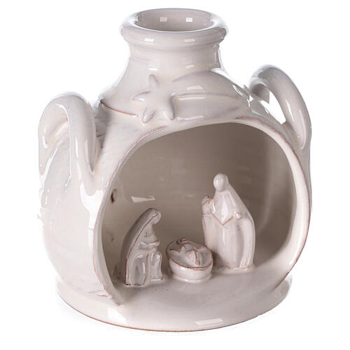 Holy Family set in jar polished white Deruta terracotta 12 cm 3