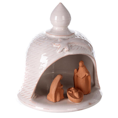 White terracotta bell Nativity Deruta dark statues 12 cm 3