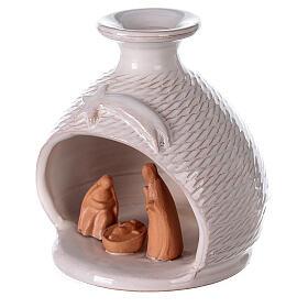 Nativity scene white terracotta vase Deruta natural statues 12 cm s2