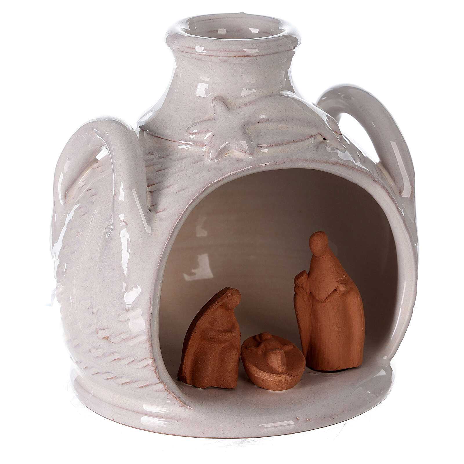 Terracotta Nativity in jar side handled two toned Deruta terracotta 12 cm 4